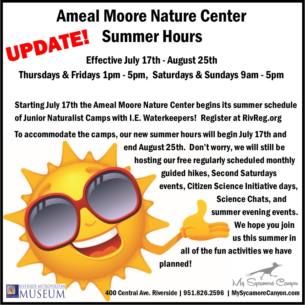 Summer Is Upon Us And That Means Junior Naturalist Camps And Hour Changes!  Starting July 17th Until August 25th, The Ameal Moore Nature Center Will  Have ...
